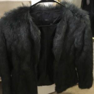 Zara faux fur jacket in dark green